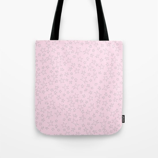 Grey handpainted little stars on pink backround Tote Bag