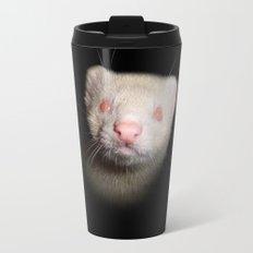 Albino Ferret black background Travel Mug