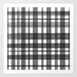 Hand painted black white geometric plaid pattern Art Print