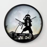 mcfly Wall Clocks featuring McFly Kid by Andy Fairhurst Art