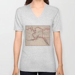 Vintage Map of Alaska (1883) Unisex V-Neck