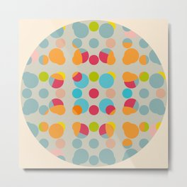 Abath - Colorful Dots in Circle on Beige Metal Print