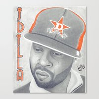 j dilla Canvas Prints featuring J Dilla R.I.P. by TYP Portraits