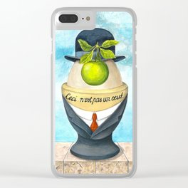 A boiled egg according to Rene Magritte Clear iPhone Case