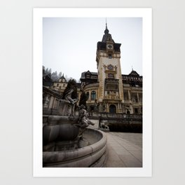 Peles castle, Romania, Brasov, fountain details Art Print
