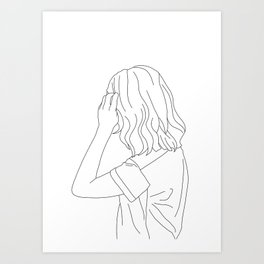 Fashion illustration line drawing - Cain Art Print