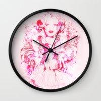 marylin monroe Wall Clocks featuring Marylin Monroe by FlowerMoon Studio