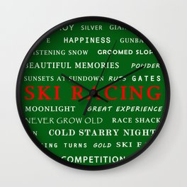 Ski Racing Green Wall Clock