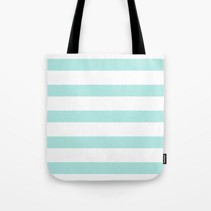 Aqua blue and White stripes lines - horizontal Tote Bag