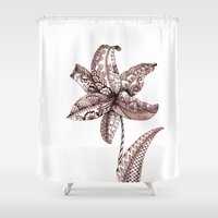 henna Shower Curtains featuring Henna Lily by Elisa Camera