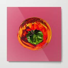 Red flower in glass globe Metal Print