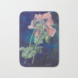 French Poppy - Vintage Botanical Illustration Collage Bath Mat