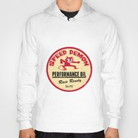 decal Hoodies featuring Hot Rod Retro Decal by Pixel Villain