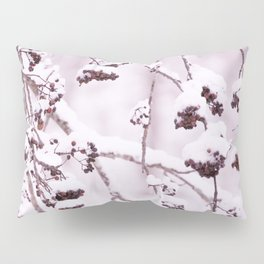 Snowy Rowan Branches with Berries in Scandinavian Forest - Winter Scene #decor #society6 #buyart Pillow Sham