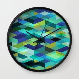 Rhapsody Jewelled Peacock Blue Green Modern Abstract Geometric Wall Clock