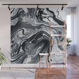Marble in Black Ink Wall Mural