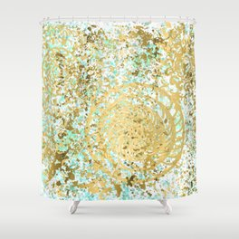 Mint and Gold Radial Splatter Paint Design Shower Curtain