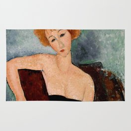 "Amedeo Modigliani ""Redheaded Girl in Evening Dress"" Rug"