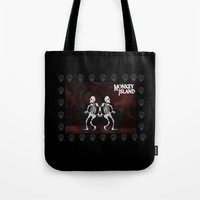 monkey island Tote Bags featuring MONKEY ISLAND by Rocky Rock