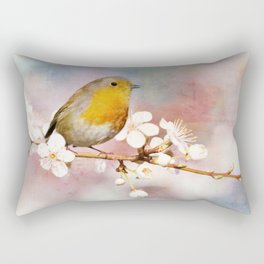 Portrait of a Robin in Spring Rectangular Pillow