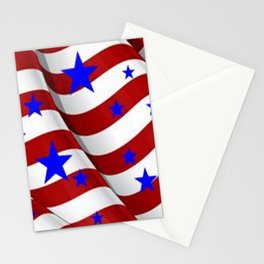PATRIOTIC JULY 4TH BLUE STARS DECORATIVE ART Stationery Cards