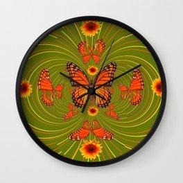 GREEN PEA SOUP SUNFLOWERS MONARCH BUTTERFLIES Wall Clock