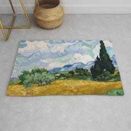 """Vincent van Gogh """"Wheat Field with Cypresses"""" Rug"""