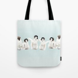 Playful Penguin Chicks - Watercolor Painting Tote Bag