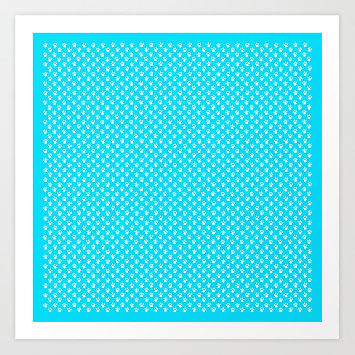 Tiny Paw Prints Pattern - Bright Turquoise & White Art Print