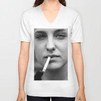 smoking V-neck T-shirts featuring smoking by kuzmafoto