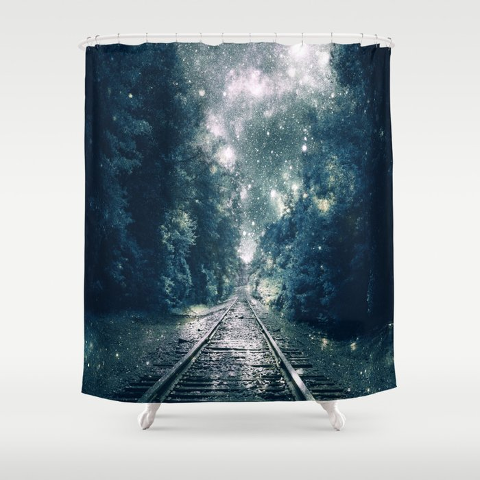 Dream Train Tracks Teal Next Stop Anywhere Shower Curtain