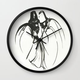Dervish Whispers Minimalistic Line Drawing Wall Clock