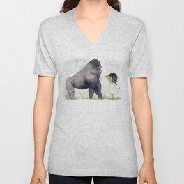 Hug me , Mr. Gorilla Unisex V-Neck