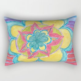 Joy - flower mandala with rainbow Rectangular Pillow