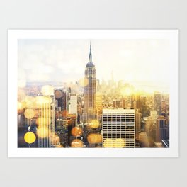 New York city with bokeh Art Print