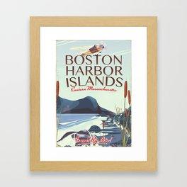 Boston Harbor Massachusetts Flight poster Framed Art Print