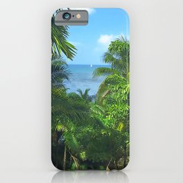 St Lucia View to Sailboat at Sea iPhone Case