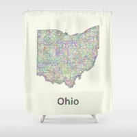 ohio Shower Curtains featuring Ohio map by David Zydd