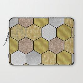 Golden honeycomb on black geometric Laptop Sleeve