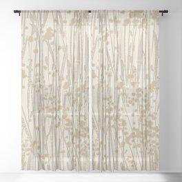weeds neutrals Sheer Curtain