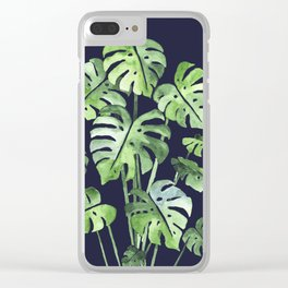Delicate Monstera Blue #society6 Clear iPhone Case