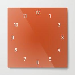Numbers Clock - Orange Metal Print