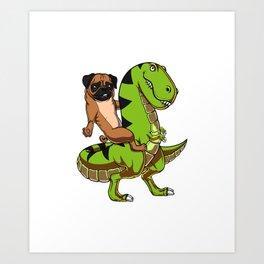 Pug Riding T-Rex Dinosaur Funny Dog Art Print
