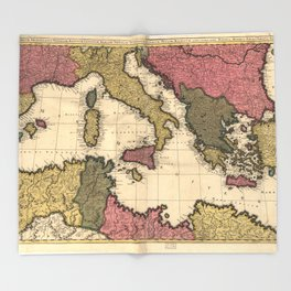 Map of the Mediterranean Sea (1695) Throw Blanket