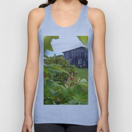 Wild Rose Bush and the Old Barn Unisex Tank Top