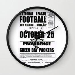 1931 Football Game Poster Providence Steam Roller vs. Green Bay - City Stadium Wisconsin Wall Clock