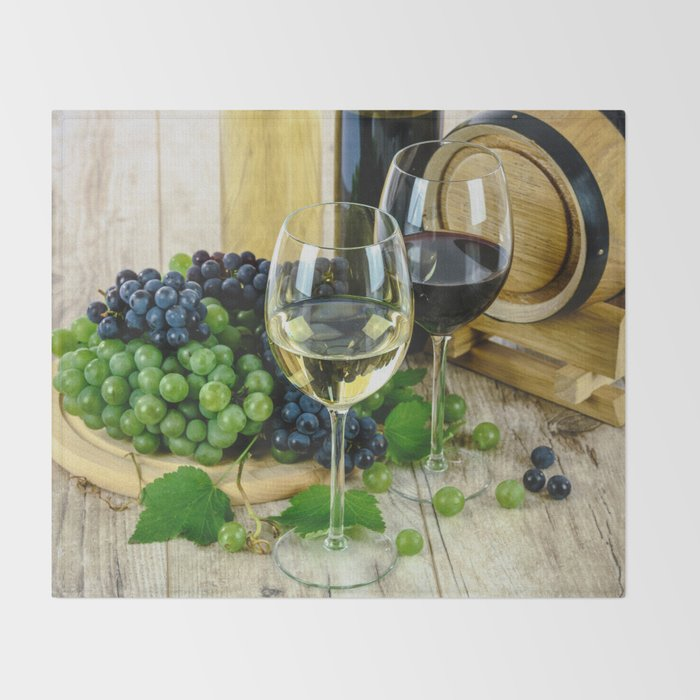 Glasses of Wine plus Grapes and Barrel Throw Blanket