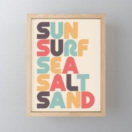 Retro Sun Surf Sea Salt Sand Typography Framed Mini Art Print