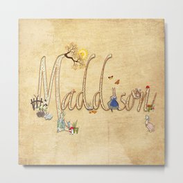 Maddison / Personalised Name Illustration Metal Print