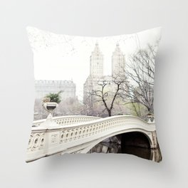 Bow Bridge in Central Park - Travel Photography, New York Throw Pillow